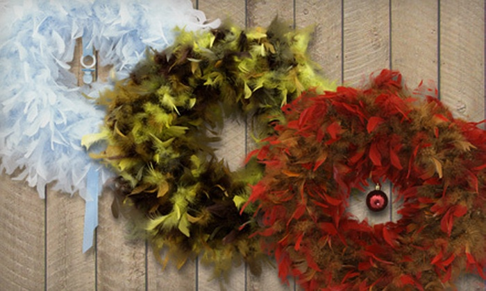 Angel Wreaths Feather Wreath: $30 for an Angel Wreaths Feather Wreath with Shipping Included ($57.05 Total Value). Three Colors Available.