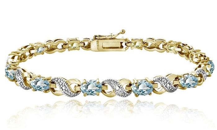 6 60 Cttw Blue Topaz And Diamond Accent Infinity Bracelet