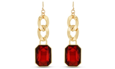 Ruby Red Radiant-Cut Glass and Chain Dangle Earrings