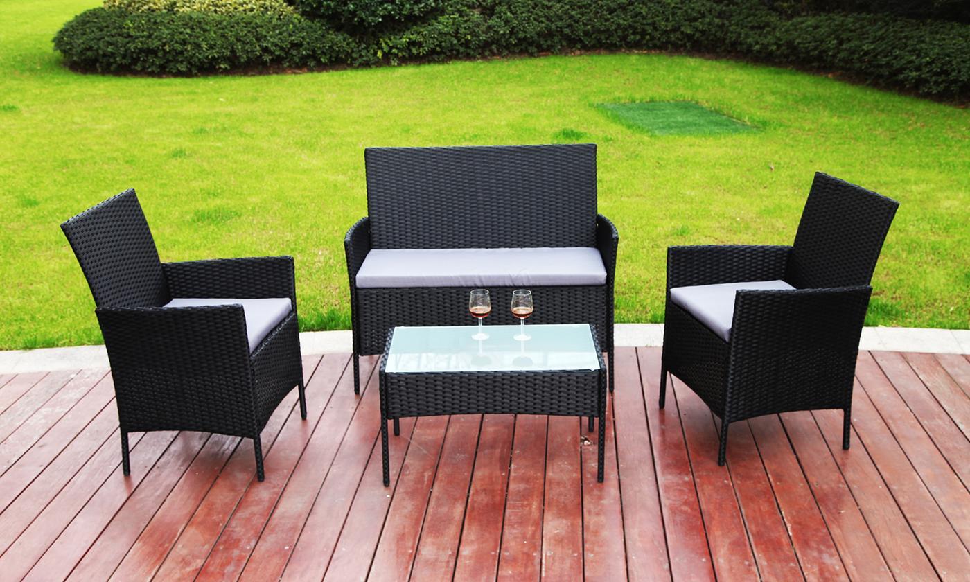 Davis and Grant Four-Piece Rattan-Effect Garden Furniture Set (£119.99)