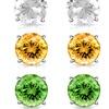 6.00 CTTW Gemstone Stud Earrings Set by MUIBLU Gems (3 Pairs)