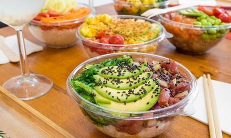 Dos poke bowls medianos o grandes con bebida para dos personas desde 12,95 € en 2 restaurantes Healthy Poke