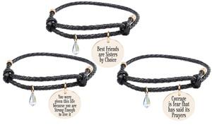 Pink Box Inspirational Leather Bracelet with AB Swarovski Crystal