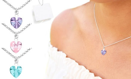 One, Two or Three Ah! Jewellery Silver Heart Necklaces with Crystals from Swarovski®