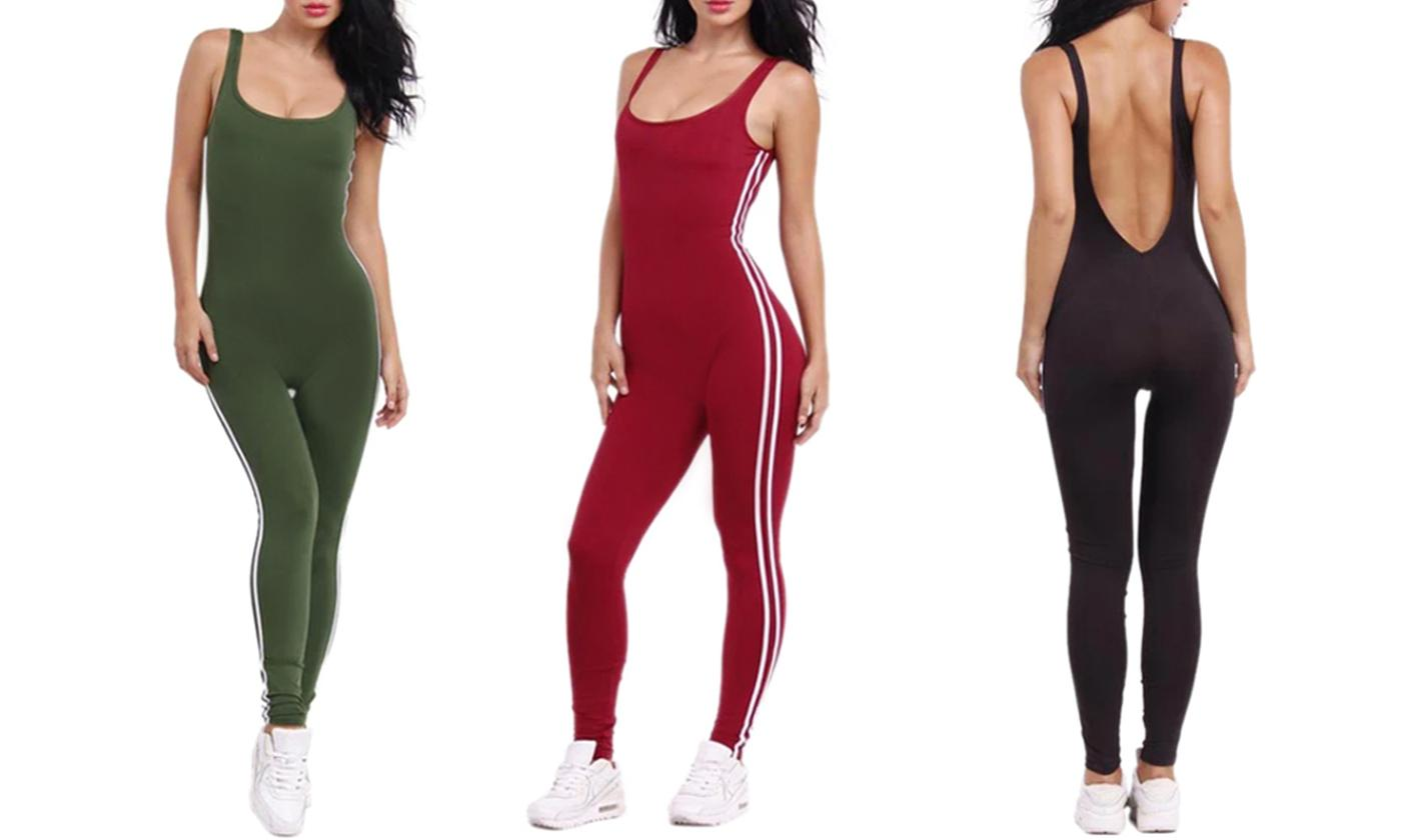 One or Two Scoop Neck Sporty Jumpsuits