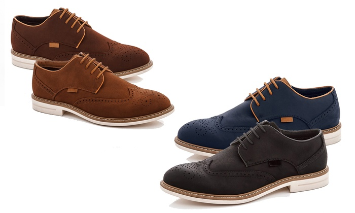 Franco Vanucci Men's Lace-Up Brogue Oxford Shoes