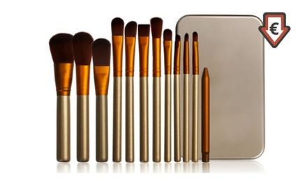 Set van 12 goudkleurige makeup kwasten