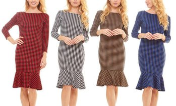 Women's 3/4 Sleeve Houndstooth Knee Length Dress. Plus Sizes Available