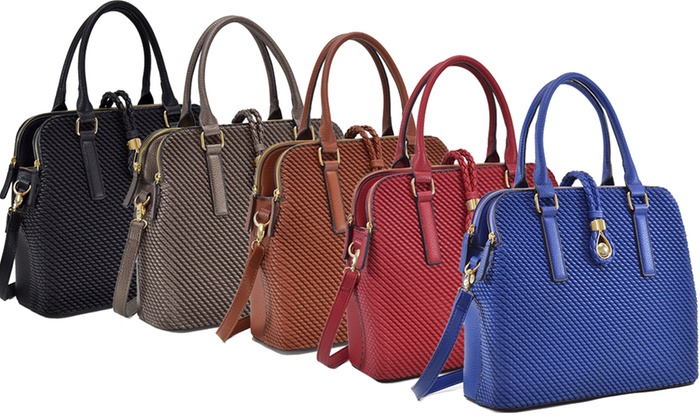 MKB Collection Apollo Medium-Weaved Design Satchel Handbag