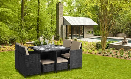 9  or 11 Piece Cube Rattan Effect Garden Furniture Set With Free Delivery