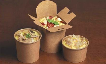Street food con pasta, polenta e bibita