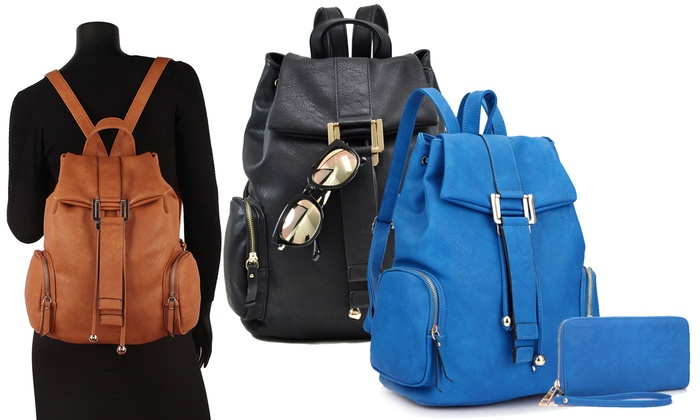 MMK Collection Traveling Backpack with Wallet or Sunglasses