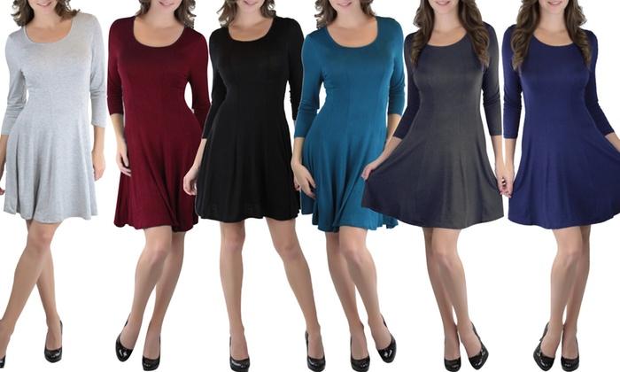 Women's 3/4 Sleeve Skater Dress