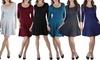 Women's 3/4 Sleeve Skater Dress: Women's 3/4 Sleeve Skater Dress