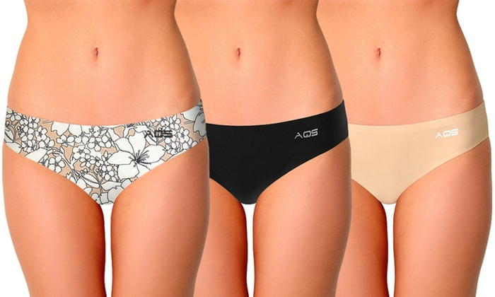 bf5b0c1be9d AQS Women s Seamless Thongs in Floral and Basics (3-Pack)