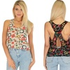 Women's Patterned Tank Top with Criss-Cross Back