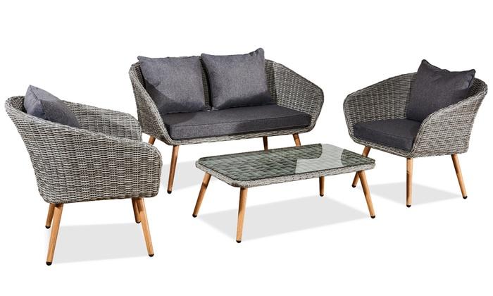 Salon de jardin style scandinave 4 places en résine tressée grise