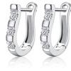 Sterling Silver Hoop Earrings with Cubic Zirconia