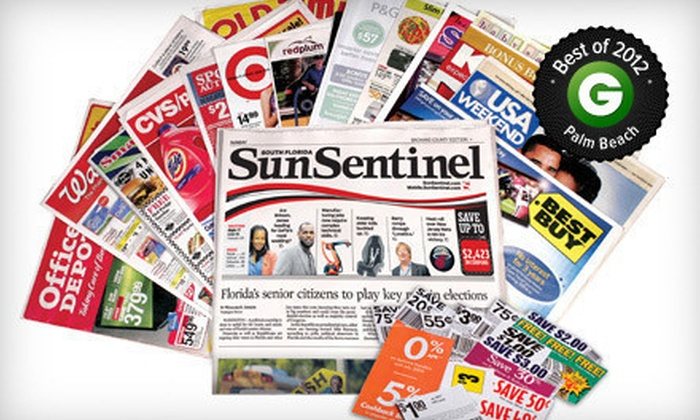 "<i>Sun Sentinel</i> - Palm Beach: $10 for a One-Year Sunday Subscription to the ""Sun Sentinel"" ($208 Value)"