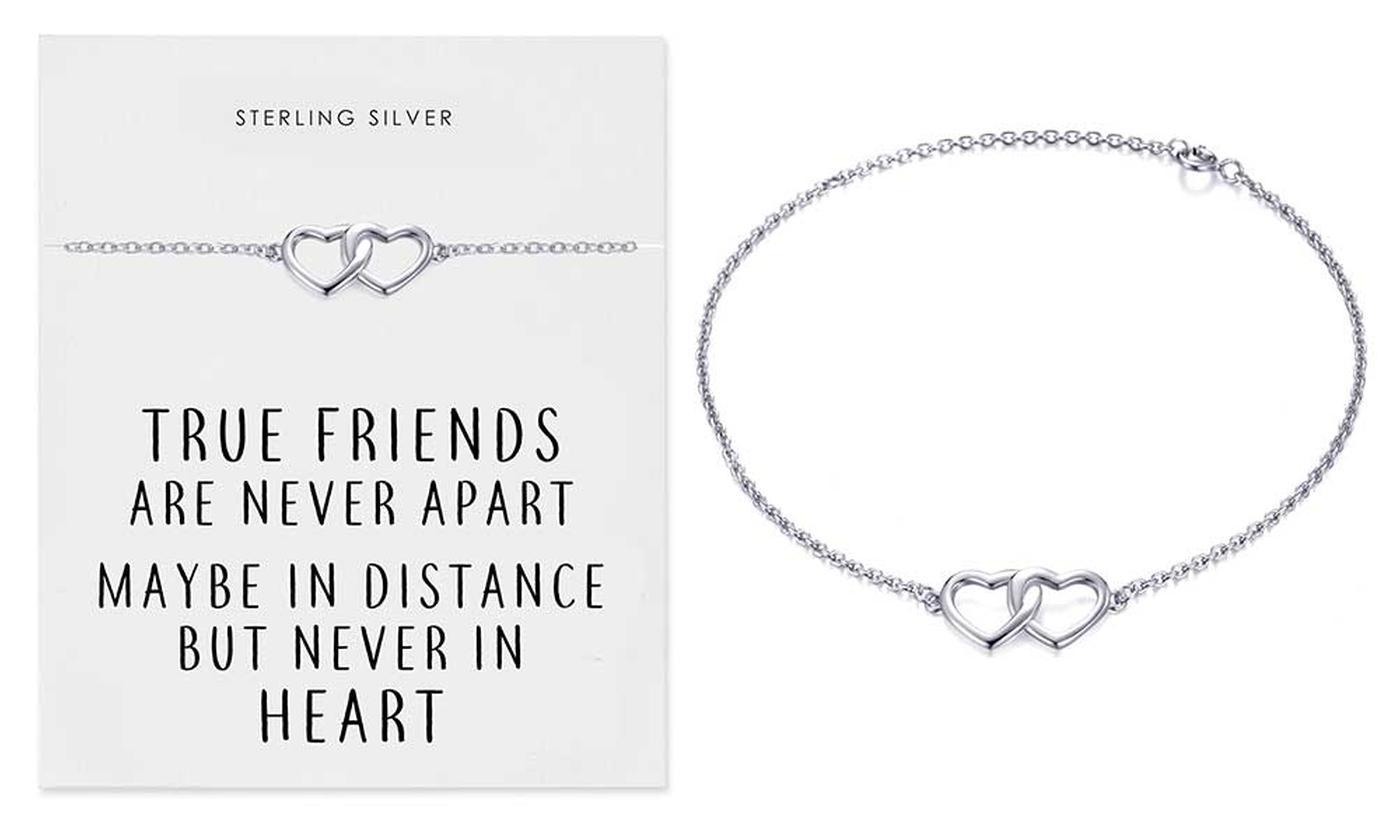 One or Two Philip Jones Sterling Silver True Friends Heart Bracelets