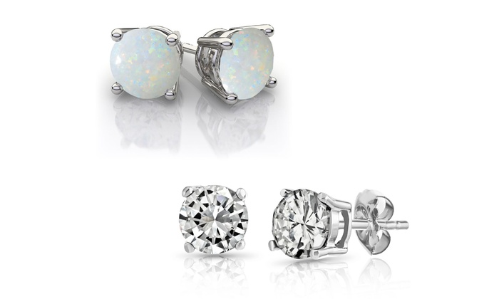 Sterling Silver White Topaz And Opal Gemstone Stud Earrings Lab Created