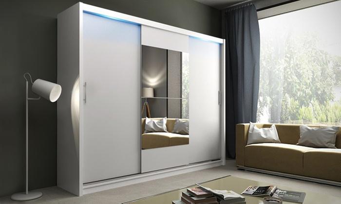 Kledingkast met deuren en spiegel | Groupon Goods