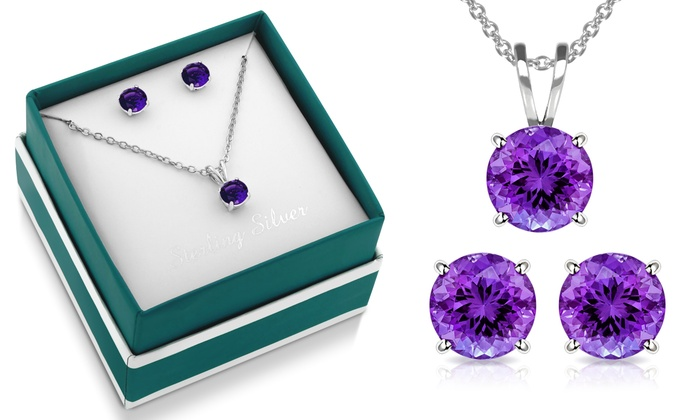 3 00 Cttw Genuine Amethyst Necklace And Earring Set By Muiblu Gems