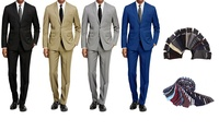 Deals on Braveman Mens 2-Piece Slim-Fit Suit with Tie