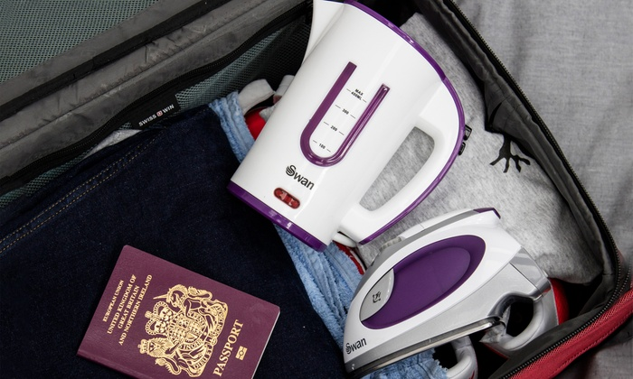 Swan Travel Iron and Kettle Set