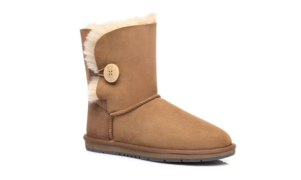 $79.95 an Australian Shepherd® A grade Merino Sheepskin Water Resistant Short Button UGG Boots (Dont Pay up to $279)