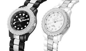 (Bijou)  Belles Montres cristaux Louise Pearl -89% réduction