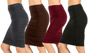 Women's Slimming Shirring Pencil Skirt