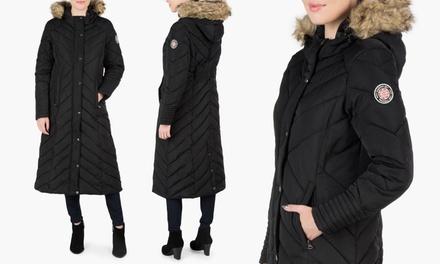 ec138c893da37 Madden Girl Women s Hooded Maxi Puffer Coat with Faux-Fur Trim