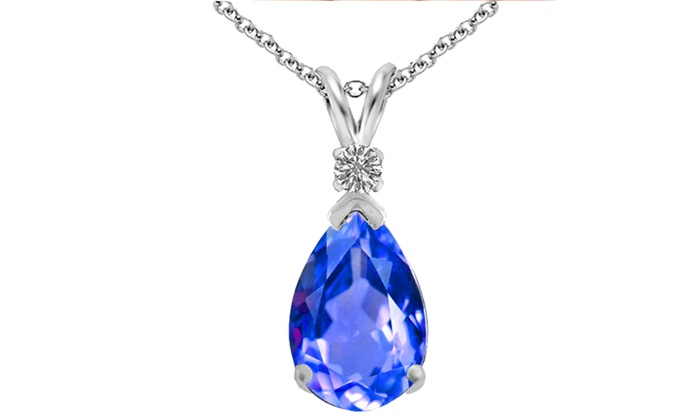 400 ctw pear shaped pendant groupon goods 400 ctw diamond and tanzanite pear shaped pendant in sterling silver 400 ctw diamond aloadofball Image collections