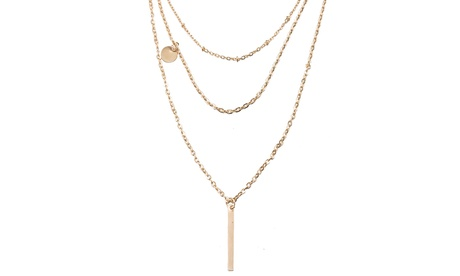 18K Gold Plated Trio Cable Vertical Necklace