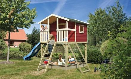 Karibu Spielturm Benjamin aus Massivholz in Kastanienrot oder Naturbelassen inkl. Versand