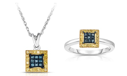 1/2 CTTW Blue and Yellow Diamond Pendant and Ring in Sterling Silver Set (2-Piece)