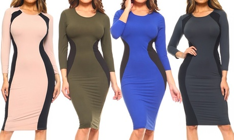 Style Clad Women's Two-Tone Contrast Midi Bodycon Dress with Three-Quarter Sleeves with Plus Size Options