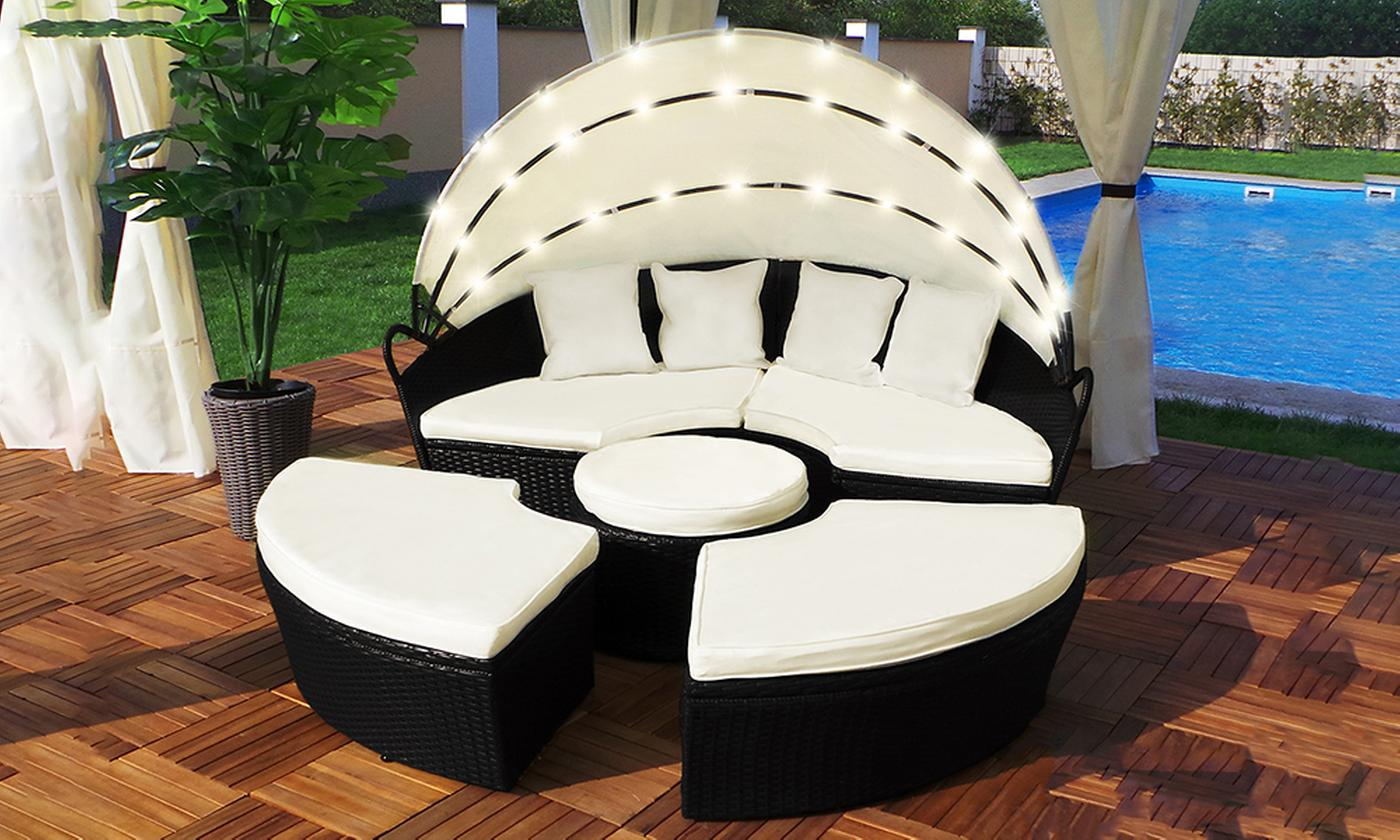 Swing & Harmony Rattan-Effect LED Sun Island with Rain Cover (£439.99)