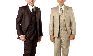Boys Suits 5-Pc Classic Fit Solid Suits w/ Matching Dress Shirt & Tie