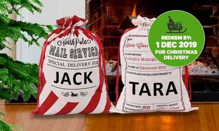 55cm x 77cm Personalised Large Santa Sack: One ($15), Two ($29), Three ($39) or Four ($49) (Don't Pay Up to $239.80)
