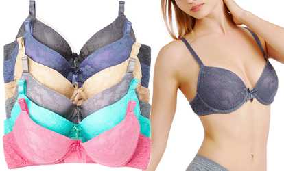 198bf96a41dfa Shop Groupon Demi-Cup Bras with Allover Lace Overlay (6-Pack)