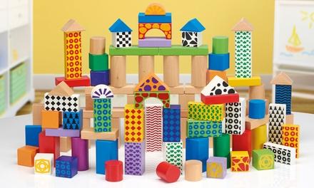 100 Blocs de construction en bois, couleurs et motifs