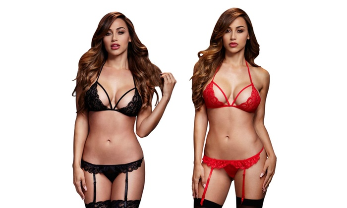 38ec9cbf66d Baci Lace Bra and Garter Crotchless Panty Set | Groupon