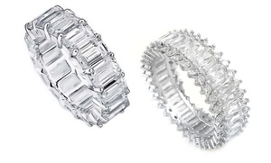 Emerald Cut Cubic Zirconia Rings In 18k White Gold Plated Brass