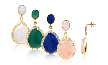 12.00 CTTW Genuine Gemstone and Swarovski Elements Earrings