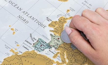 Idée cadeau - 1 ou 2 cartes du monde à gratter en français 84 x 59 cm (SaintEtienne)