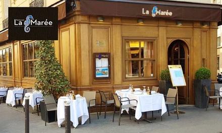 Entrée,plat, dessert pour 2 personnes à 49,90€ au restaurant de poissons «La Marée»