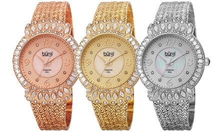 Burgi Women's Watch with Diamond and Crystal Face