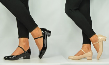 Women's Block Heel Patent Ballet Pumps for £12.98
